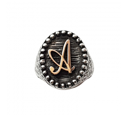 YELLOW GOLD CUSTOM OVAL LETTERS RING
